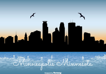 Minneapolis Skyline Illustration - vector gratuit #272759