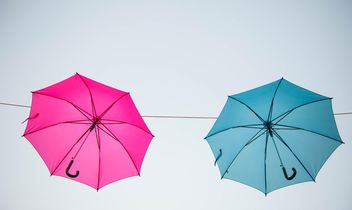 colored umbrellas hanging - бесплатный image #273099