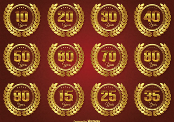 Golden Anniversary Label Set - vector #273969 gratis