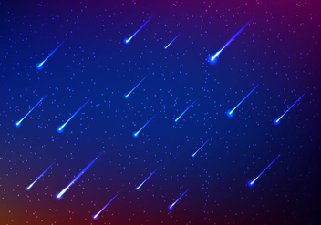 Meteor shower in sky - vector gratuit #274029