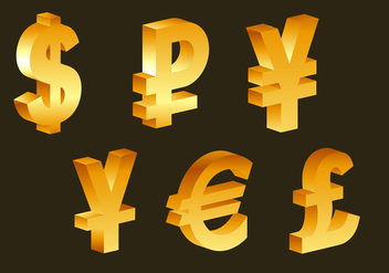3d golden currency symbols - vector gratuit #274059