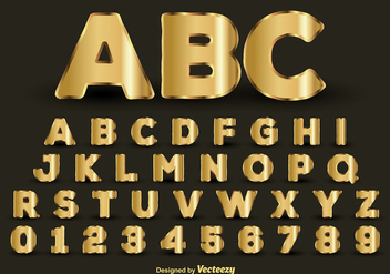 Golden alphabet - vector gratuit #274109