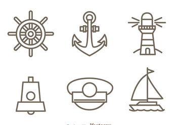 Nautical Outline Icons Set - vector #274269 gratis