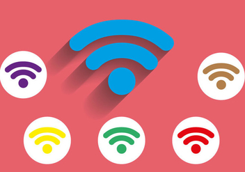 Free Wifi Icon Long Shadow Vector - Kostenloses vector #274289