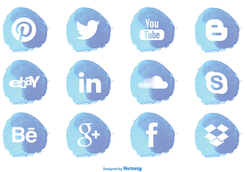 Watercolor Style Social Media Icon Set - Kostenloses vector #274389