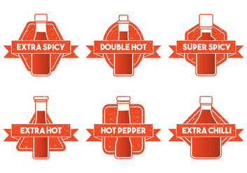 Hot Sauce Bottle Emblem Vector - Free vector #274429