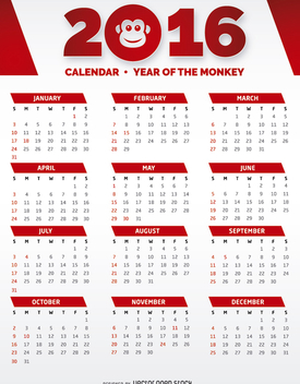 2016 Red and White Calendar - vector gratuit #274479