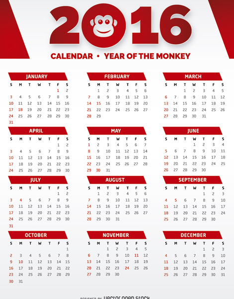 2016 Red and White Calendar - Free vector #274479