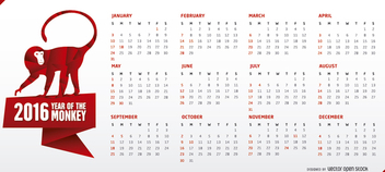 Horizontal 2016 calendar with monkey - Kostenloses vector #274489