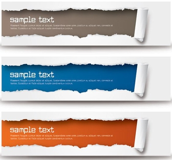 Ripped Paper Wide Banner Set - бесплатный vector #274499