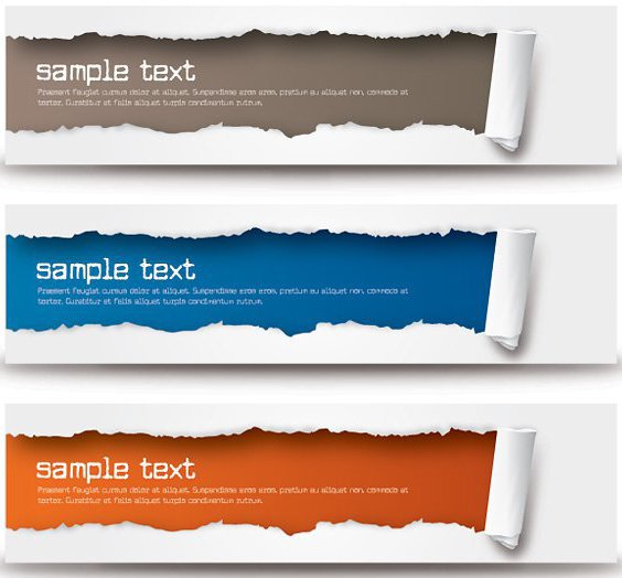 Ripped Paper Wide Banner Set - vector gratuit #274499