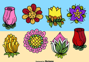 Cartoon cute flowers - бесплатный vector #274589