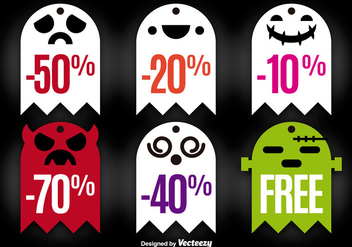 Halloween ghost tags - Free vector #275139
