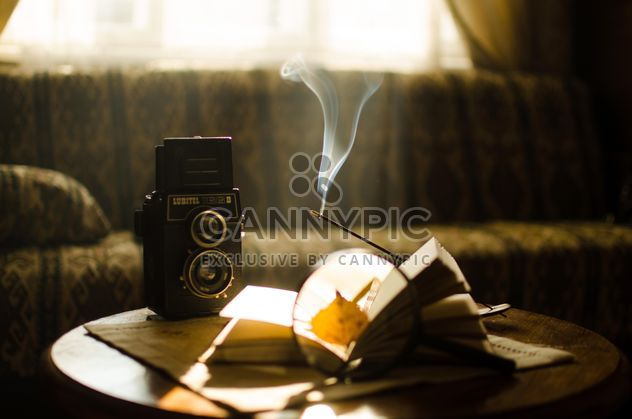 Autumn leaves through magnifying glass, book and old camera - бесплатный image #275319