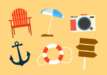 Set of Beach Objects in Vector - vector gratuit #297809