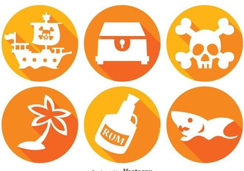Treasure Hunter Long Shadow Icons - vector #297989 gratis