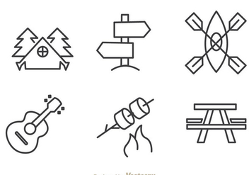 Camping And Adventure Outline Icons - Free vector #298009