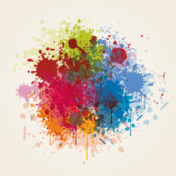 Grungy Colorful Paint Splashes - Free vector #301879