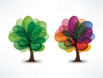 Colorful Blooming Splashed Trees - vector gratuit #301919