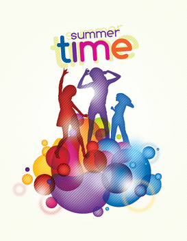 Colorful Summer Time Party Poster - Free vector #301929