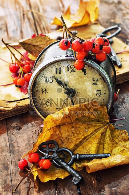 Old clock, yellow leaves and keys - Free image #301999