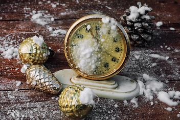 Christmas decorations and old clock - image #302039 gratis