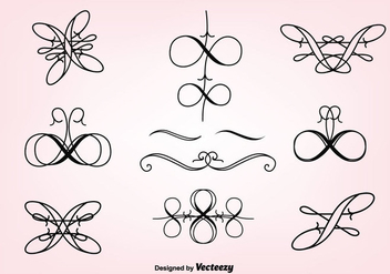 Hand Drawn Curly Swirl Vector Set - Free vector #302179