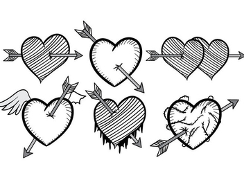 Black and White Arrow Through Heart Vector - Kostenloses vector #302419