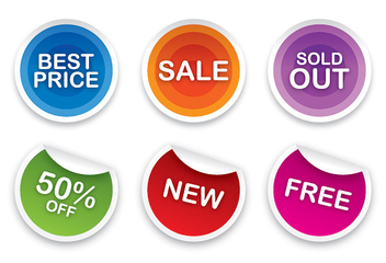 Colorful Sales Sticker Set - vector #302739 gratis