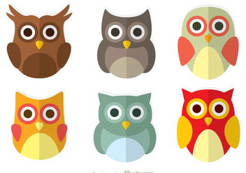 Cute Owl Flat Icons - бесплатный vector #302999