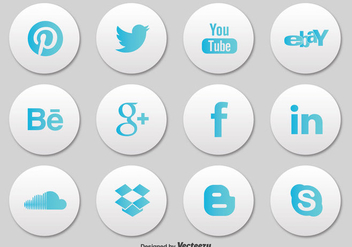 Social Media Button Icon Set - Free vector #303049