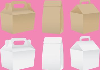 Paper Lunch Box Vectors - vector gratuit #303409