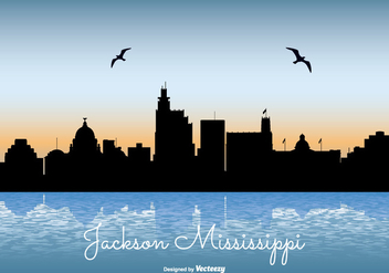 Jackson Mississippi Skyline Illustration - vector gratuit #303439