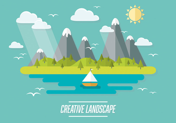 Free Web Travel Vector Background With Beautiful Landscape - Kostenloses vector #303459