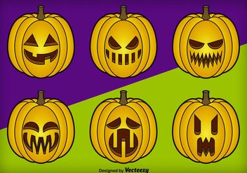 Cartoon pumpkins - Free vector #303489