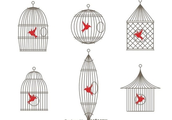 Vector Simple Vintage Bird Cage - Free vector #303599