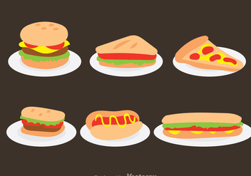 Fast Food On Plate Vectors - vector gratuit #304169