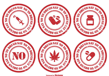 No To Drugs Rubber Stamp Set - Kostenloses vector #304209