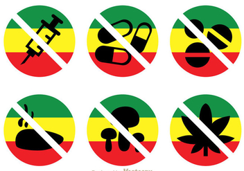 No Drugs With Rasta Colors Icons - бесплатный vector #304229
