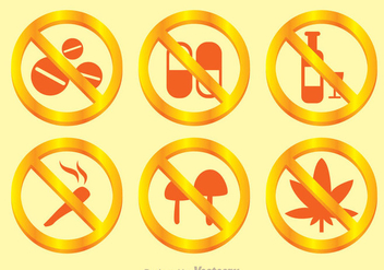 No Drugs Golden Sign - Kostenloses vector #304239