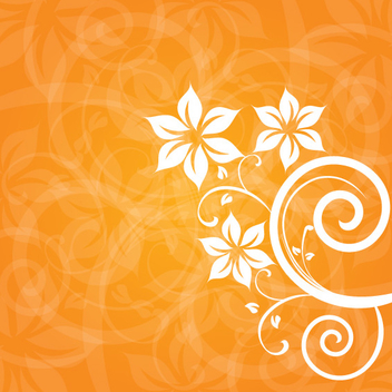 White Floral on Orange Background - vector gratuit #304309