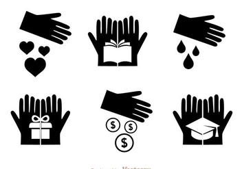 Vector Donate Black Icons - vector gratuit #304389