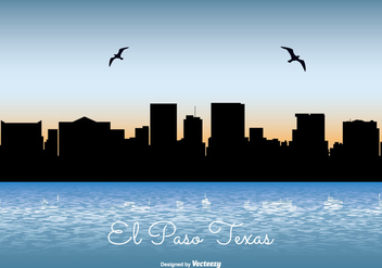 El Paso Texas Skyline Illustration - vector gratuit #304429