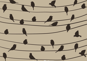 Bird Silhouette On A Wire Vector - vector gratuit #304939