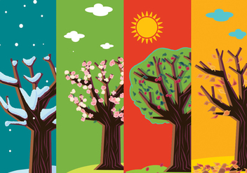 Four Seasons Abstract Trees - Free vector #305129