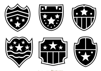 Shield Shape With Stars Icons - vector gratuit #305189
