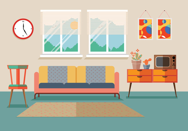 Mid Century Furniture Vector - бесплатный vector #305429