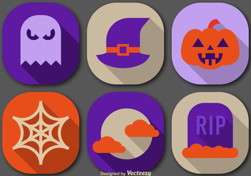 Flat color halloween icons - vector gratuit #305499