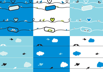 Set Silhouette of Birds on Wires - vector gratuit #305539