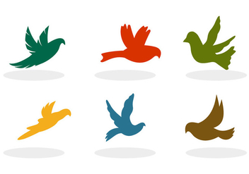 Flying Birds Silhouette Vectors - Free vector #305639